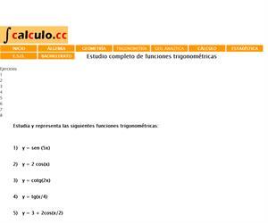 Ejercicios resueltos de funciones trigonométricas (Cálculo.cc)