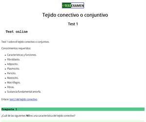 Test (1) sobre el tejido conjuntivo