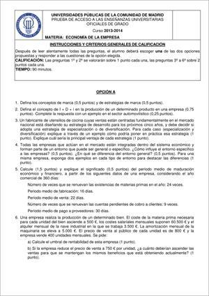 Examen de Selectividad: Economía. Madrid. Convocatoria Junio 2014