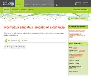 Normativa educativa: modalidad a distancia (Argentina)