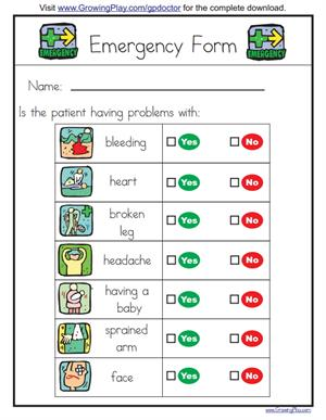 Emergency Form. Medical Emergencies Vocabulary (Growing Play)