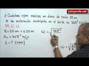 Problema 3 sobre Movimiento Circular Uniforme (JulioProfe)