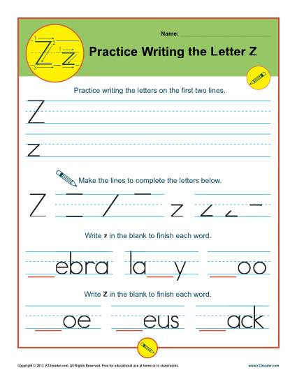Practice Writing the Letter Z