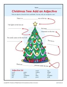 Christmas Add an Adjective Worksheet Activity