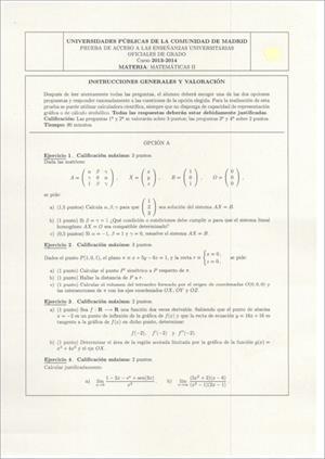 Examen de Selectividad: Matemáticas II. Madrid. Convocatoria Junio 2014