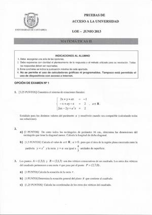 Examen de Selectividad: Matemáticas II. Cantabria. Convocatoria Junio 2013