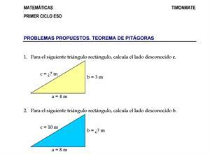 Ejercicios propuestos del teorema de Pitágoras