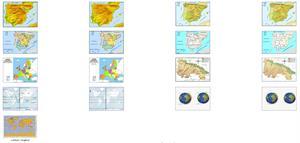 Mapas físicos y políticos para primaria: España, Unión Europea y Planisferio