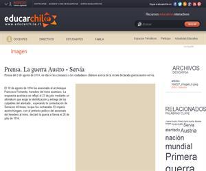 Prensa. La guerra Austro - Servia (Educarchile)