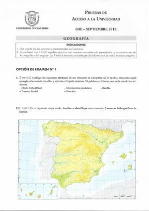 Examen de Selectividad: Geografía. Cantabria. Convocatoria Septiembre 2013