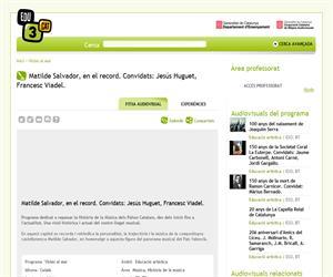Matilde Salvador, en el record. Convidats: Jesús Huguet, Francesc Viadel. (Edu3.cat)