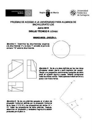 Examen de Selectividad: Dibujo técnico. Murcia. Convocatoria Junio 2014