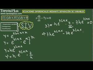 Solución a una ecuación diferencial mediante separación de variables. Ejercicio 3 de 15 (Tareas Plus)