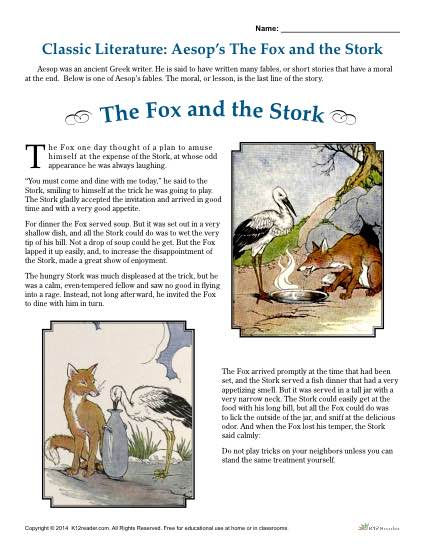 Classic Literature: Aesop's The Fox and the Stork
