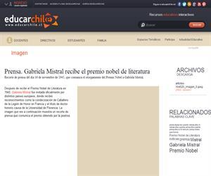 Prensa. Gabriela Mistral (Educarchile)