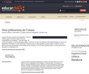 Otras publicaciones de Coloane (Educarchile)