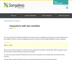 Inequations with two variables