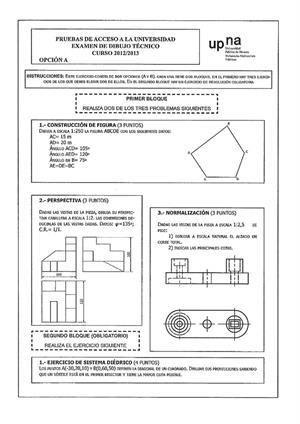 Examen de Selectividad: Dibujo técnico. Navarra. Convocatoria Julio 2013
