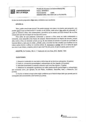 Examen de Selectividad: Historia de la filosofía. La Rioja. Convocatoria Julio 2013