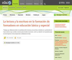 La lectura y la escritura en la formación de formadores en educación básica y especial