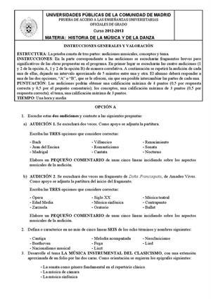 Examen de Selectividad: Historia de la música y la danza. Madrid. Convocatoria Septiembre 2013