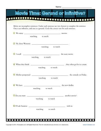 Movie Time! Gerund or Infinitive?