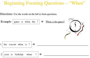 Beginning Forming Questions: When