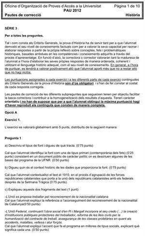 Examen de Selectividad (Soluciones): Historia. Cataluña. Convocatoria Junio 2012