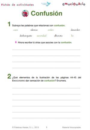 Ficha de actividades sobre la confusión. Emocionario