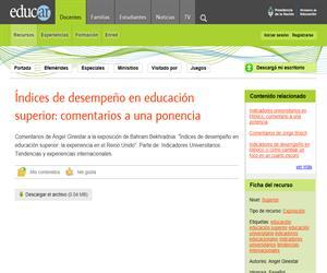 Índices de desempeño en educación superior: comentarios a una ponencia