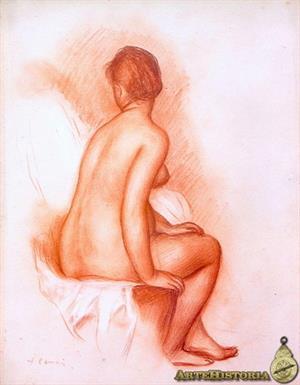 Bañista desnuda sentada (Pierre Auguste Renoir )