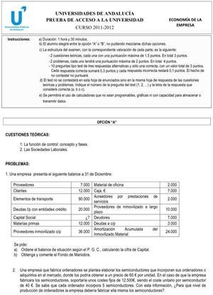 Examen de Selectividad: Economía 1. Andalucía. Convocatoria Junio 2012