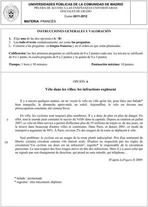 Examen de Selectividad: Francés. Comunidad de Madrid. Convocatoria Junio 2012
