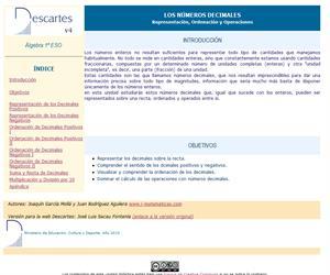 Números decimales. Representación, ordenación y decimales (Descartes)