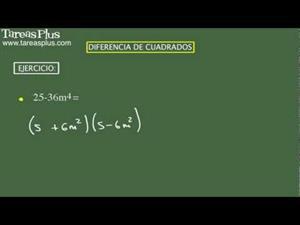 Diferencia de cuadrados. Problema 1 de 15 (Tareas Plus)