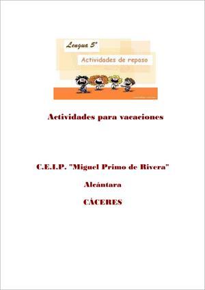 Cuaderno de repaso de Lengua (5º de Educación Primaria). CEIP Miguel Primo de Rivera
