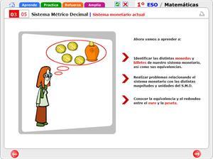 Sistema métrico decimal. Sistema monetario actual. Matemáticas para 1º de Secundaria.