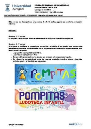 Examen de Selectividad: Diseño. Aragón. Convocatoria Junio 2014