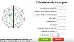 Calculadora de medidas de heptágono regular