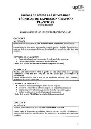 Examen de Selectividad: Técnicas de expresión grafo-plástica. Navarra. Convocatoria Julio 2013