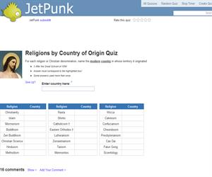 Religions by Country of Origin Quiz