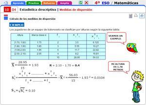 Medidas de dispersión. Matemáticas para 4º de Secundaria