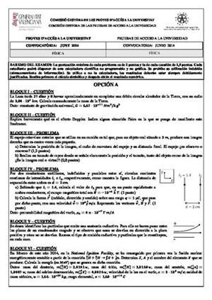 Examen de Selectividad: Física. Comunidad Valenciana. Convocatoria Junio 2014