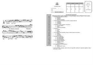 Examen de Selectividad: Análisis musical. Asturias. Convocatoria Junio 2013