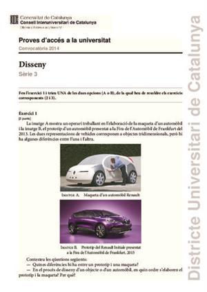 Examen de Selectividad: Diseño. Cataluña. Convocatoria Junio 2014