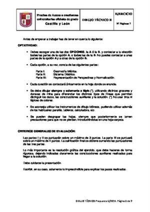 Examen de Selectividad: Dibujo técnico. Castilla y León. Convocatoria Junio 2014