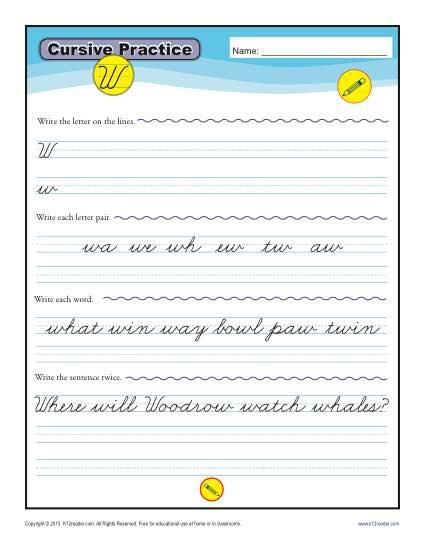 Cursive W – Letter W Worksheet