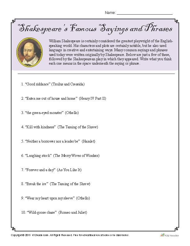 Shakespeare's Famous Sayings and Phrases