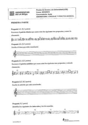 Examen de Selectividad: Lenguaje y práctica musical. La Rioja. Convocatoria Junio 2013