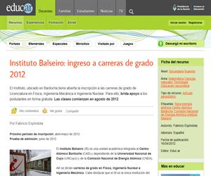 Instituto Balseiro: ingreso a carreras de grado 2012